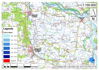 Deichbruch-Szenario L3 - Deich bei Osterholz - Ausbreitung nach 1 Stunde