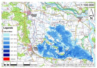 Deichbruch-Szenario L3 - Deich bei Osterholz - Ausbreitung nach 48 Stunden