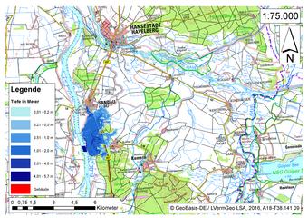 Deichbruch-Szenario R3 Deich südlich von Sandau - Ausbreitung nach 3 Stunden