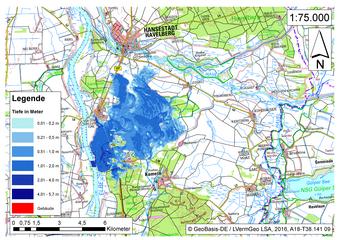 Deichbruch-Szenario R3 Deich südlich von Sandau - Ausbreitung nach 12 Stunden