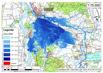 Deichbruch-Szenario R3 Deich südlich von Sandau - Ausbreitung nach 48 Stunden