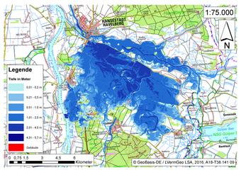 Deichbruch-Szenario R3 Deich südlich von Sandau - Ausbreitung nach 72 Stunden