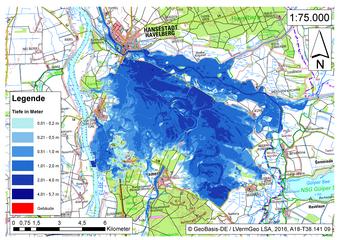 Deichbruch-Szenario R3 Deich südlich von Sandau - Ausbreitung nach 96 Stunden