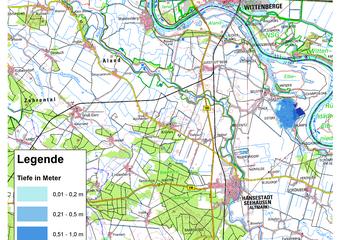 Deichbruch-Szenario L4 Deich bei Unterkamps - Ausbreitung nach 1 Stunde