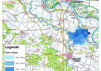 Deichbruch-Szenario L4 Deich bei Unterkamps - Ausbreitung nach 6 Stunden