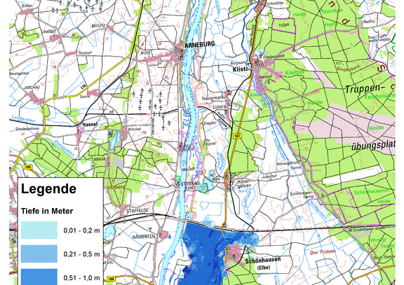 Deichbruch-Szenario R1 Deich bei Schönhausen - Ausbreitung nach 6 Stunden