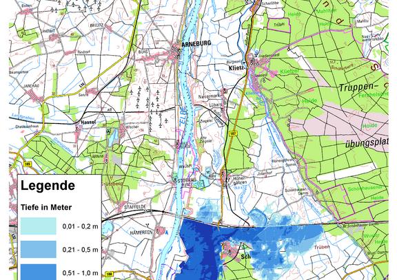 Deichbruch-Szenario R1 Deich bei Schönhausen - Ausbreitung nach 12 Stunden