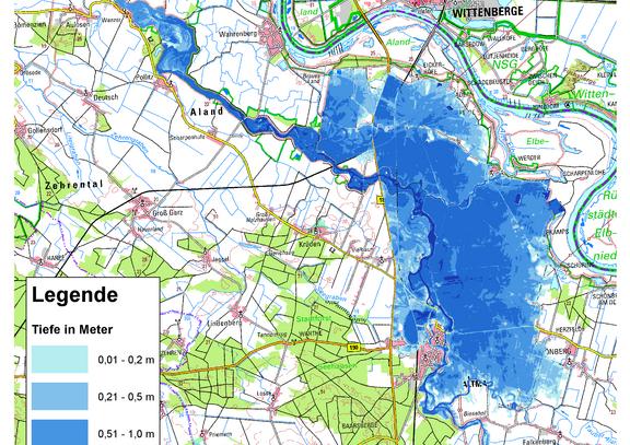 Deichbruch-Szenario L4 Deich bei Unterkamps - Ausbreitung nach 48 Stunden
